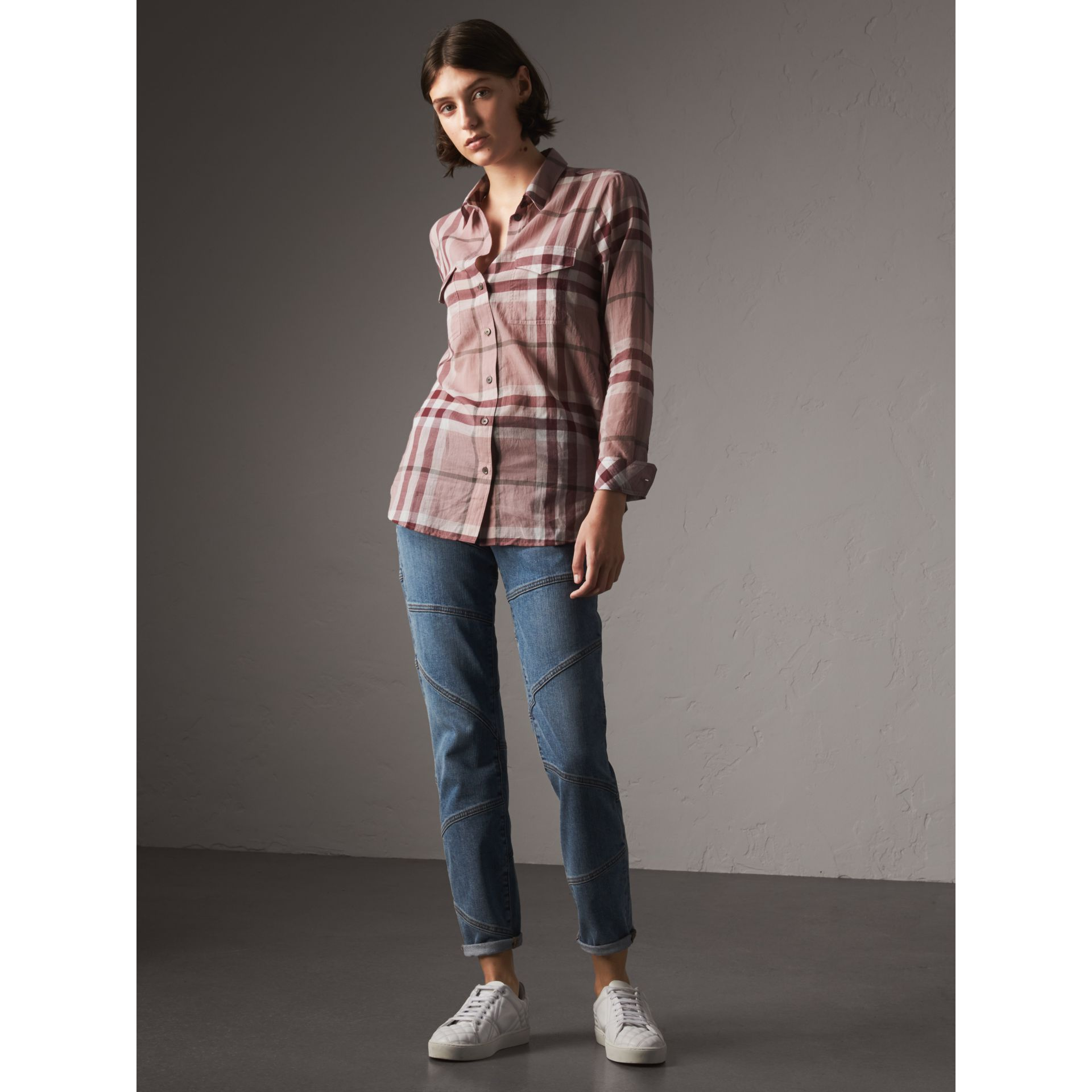 Check Cotton Shirt in Antique Pink - Women | Burberry - gallery image 0