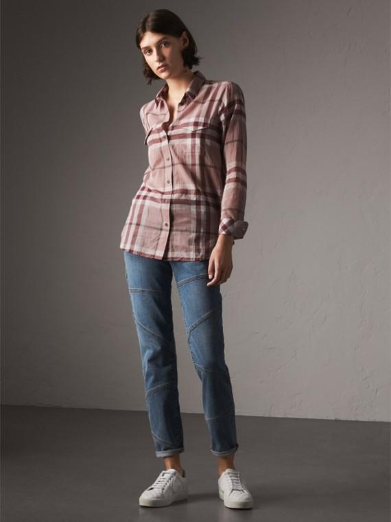 Camisa en algodón con motivo a cuadros (Rosa Envejecido)