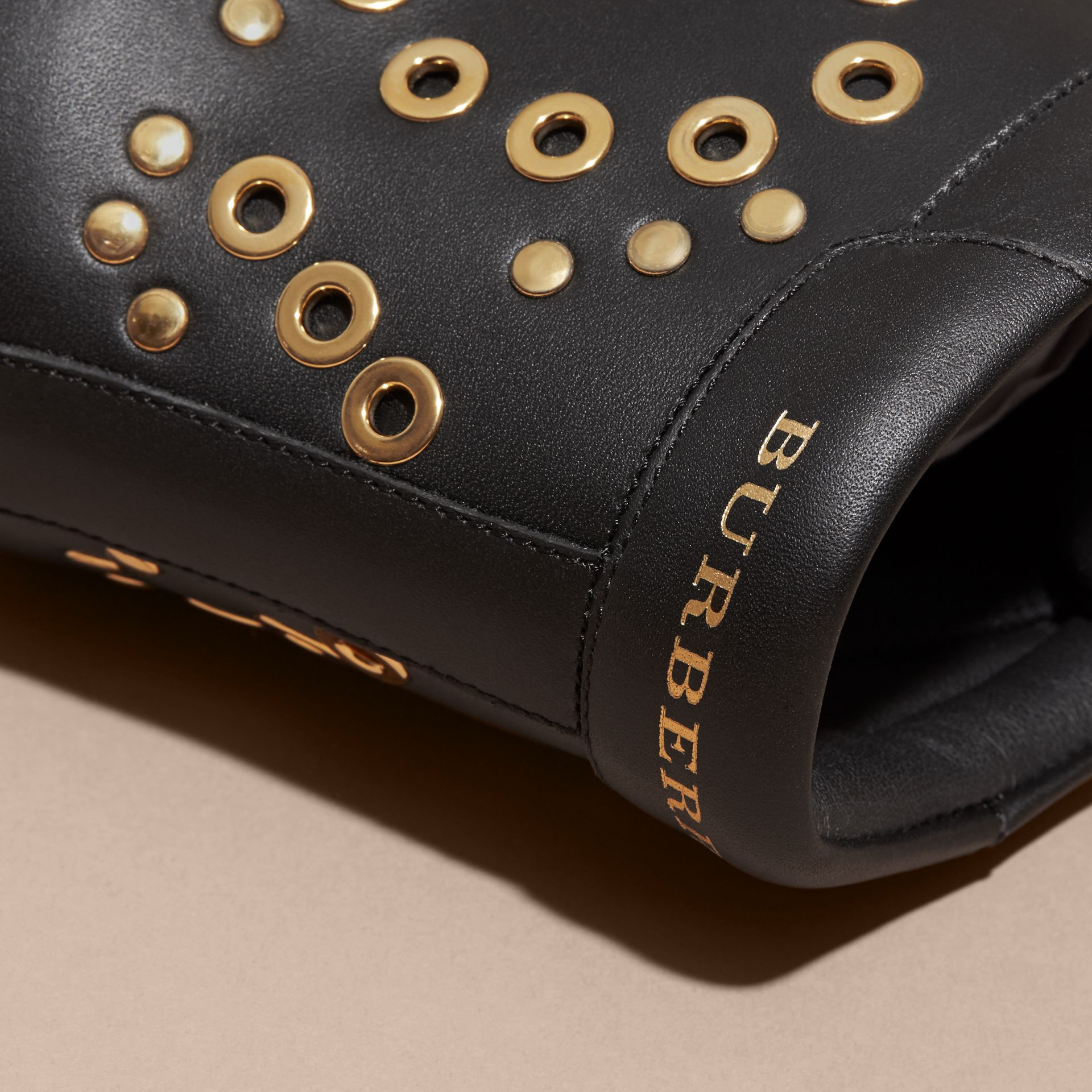 Black Rivet and Eyelet Leather High-top Trainers - gallery image 2