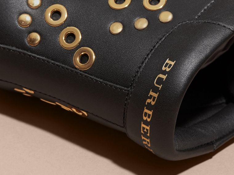 Black Rivet and Eyelet Leather High-top Trainers - cell image 1