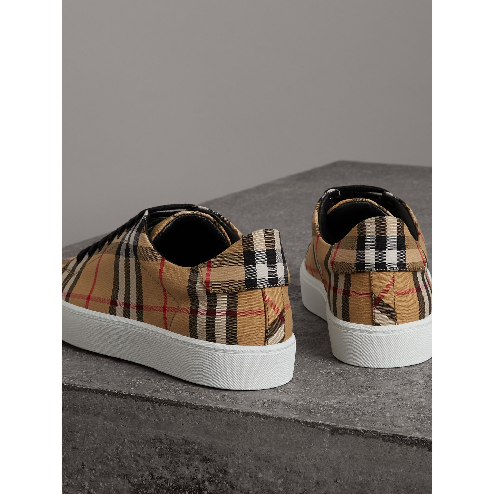 Vintage Check and Leather Sneakers in Antique Yellow - Women | Burberry Hong Kong - gallery image 3
