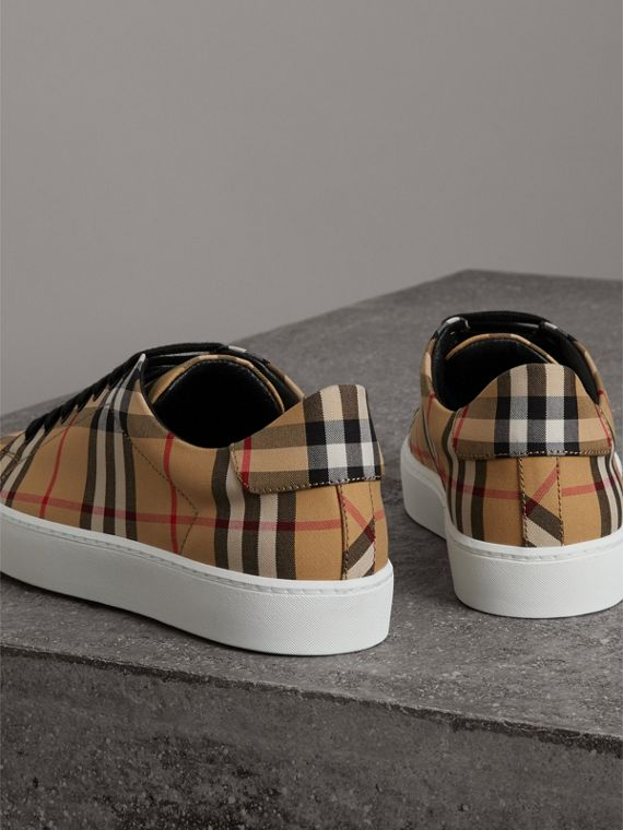 Vintage Check and Leather Sneakers in Antique Yellow - Women | Burberry Hong Kong - cell image 3