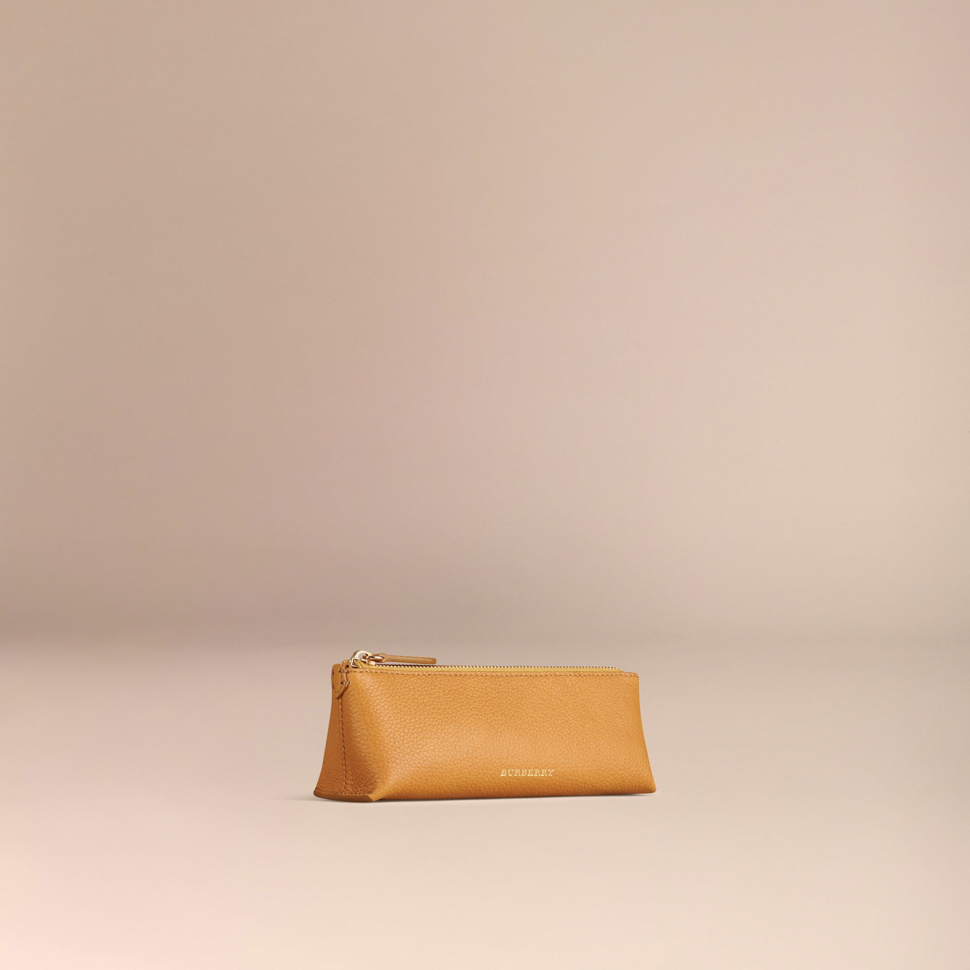 Ochre yellow Small Grainy Leather Digital Accessory Pouch Ochre Yellow - gallery image 3