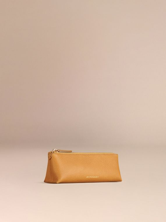 Ochre yellow Small Grainy Leather Digital Accessory Pouch Ochre Yellow - cell image 2