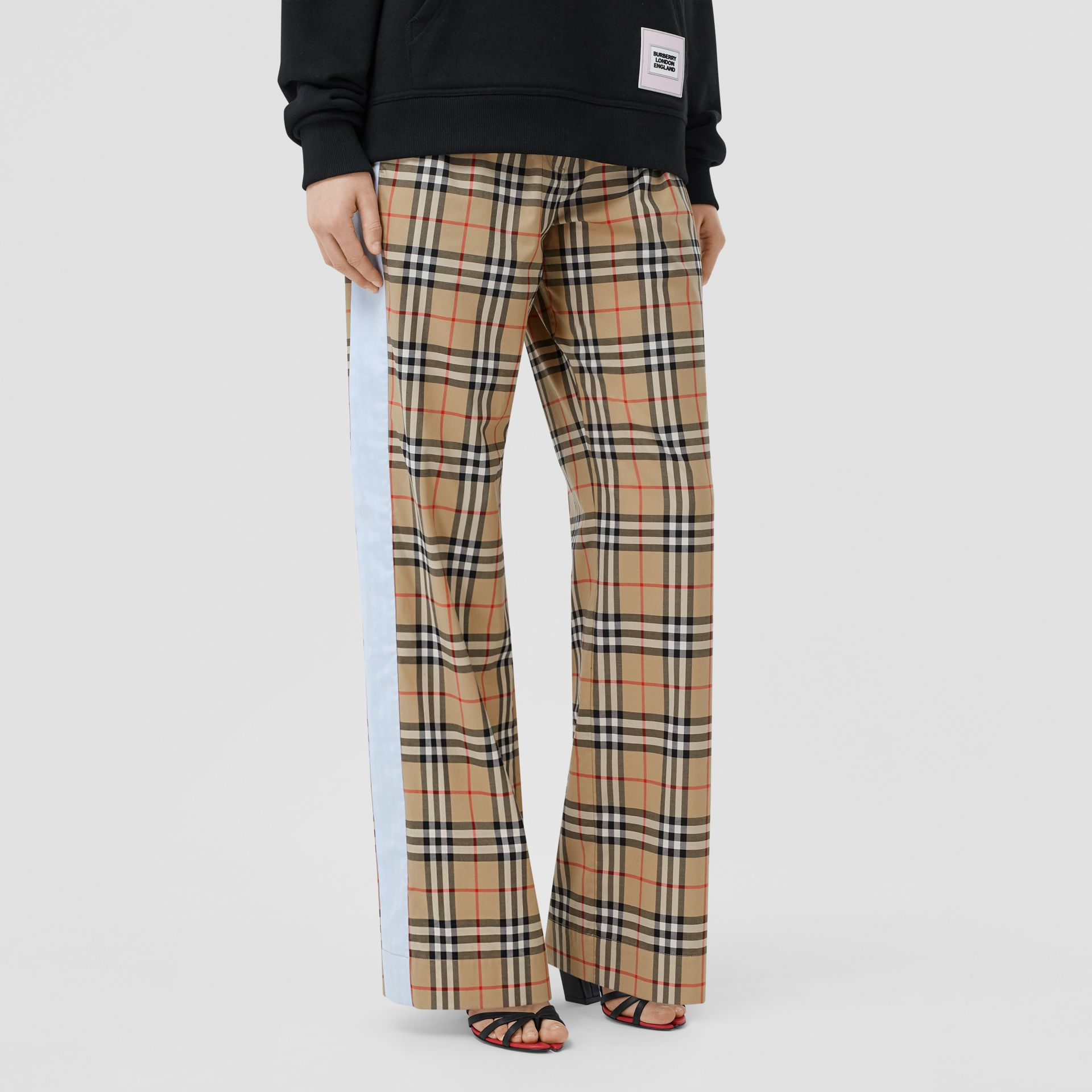 Vintage Check Stretch Cotton Trousers in Archive Beige - Women | Burberry - gallery image 4