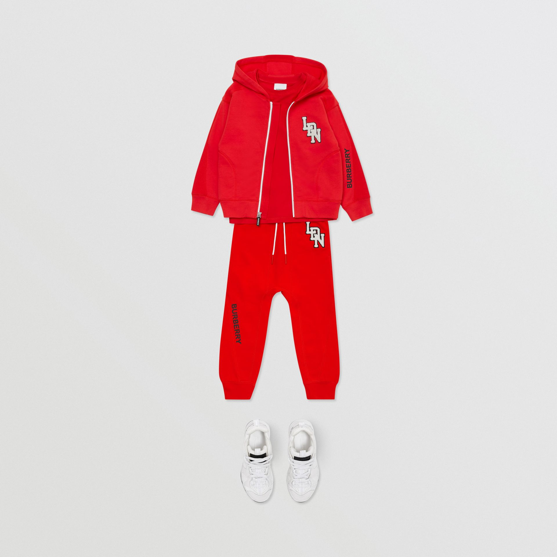 Logo Graphic Cotton Trackpants in Bright Red - Boy | Burberry United States - gallery image 2
