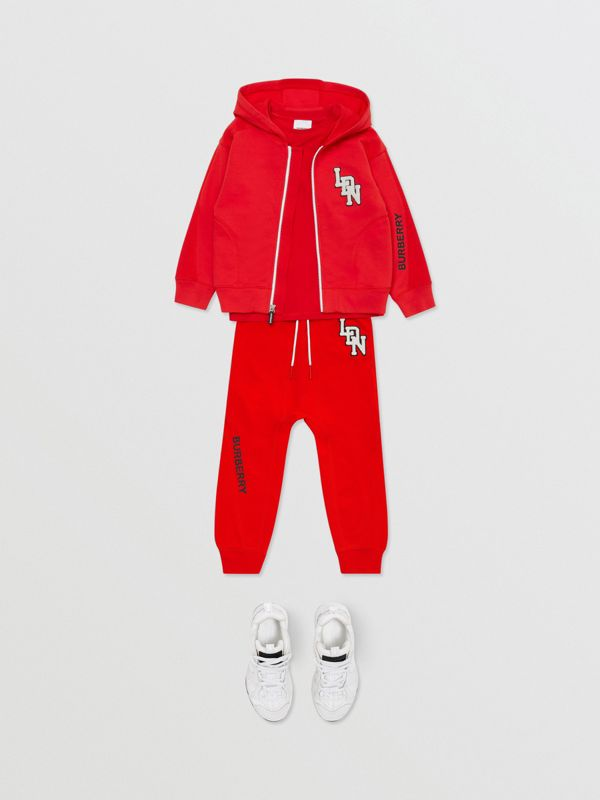 Logo Graphic Cotton Trackpants in Bright Red - Boy | Burberry United States - cell image 2