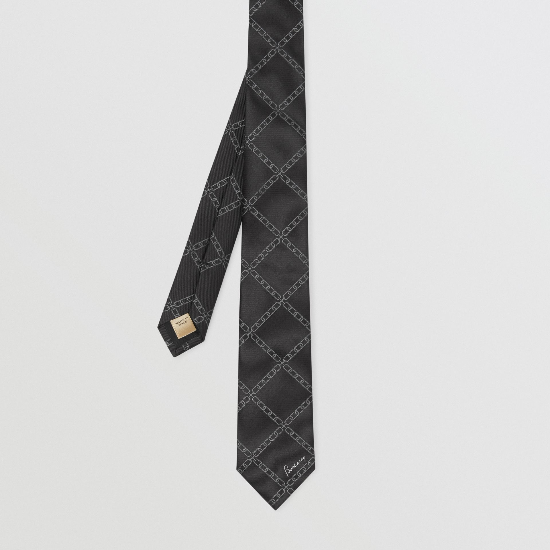 Slim Cut Link Print Silk Tie in Black - Men | Burberry United Kingdom - gallery image 3