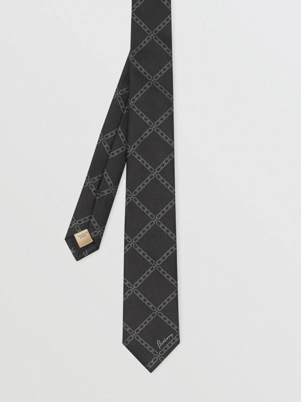 Slim Cut Link Print Silk Tie in Black - Men | Burberry United Kingdom - cell image 3
