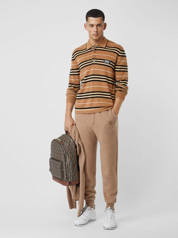Long-sleeve Icon Stripe Merino Wool Polo Shirt in Warm Walnut