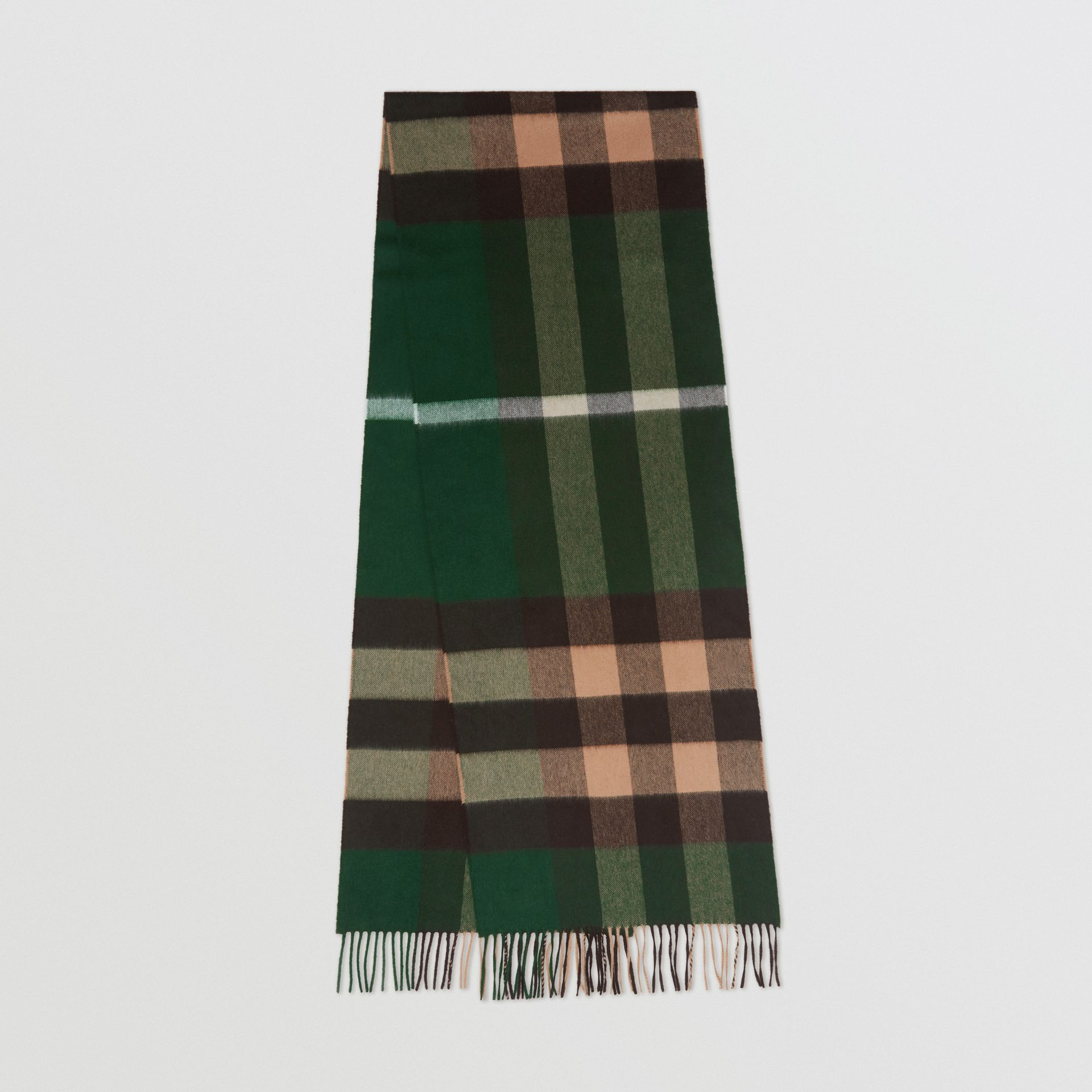 Check Cashmere Scarf in Dark Pine Green | Burberry - gallery image 0