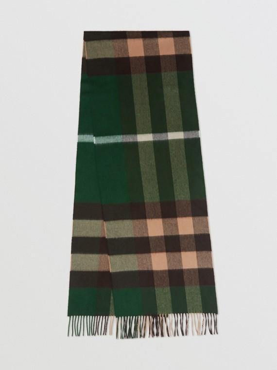 Check Cashmere Scarf in Dark Pine Green
