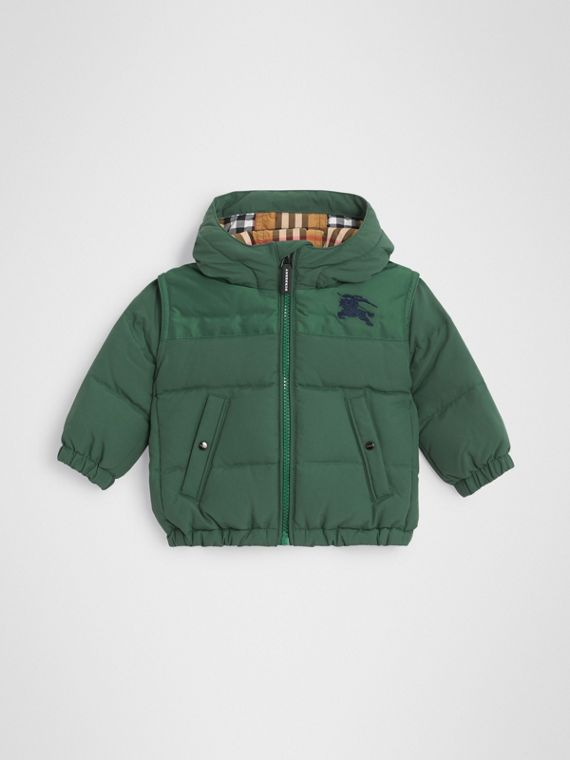 Down-filled Hooded Puffer Jacket in Veridian Green