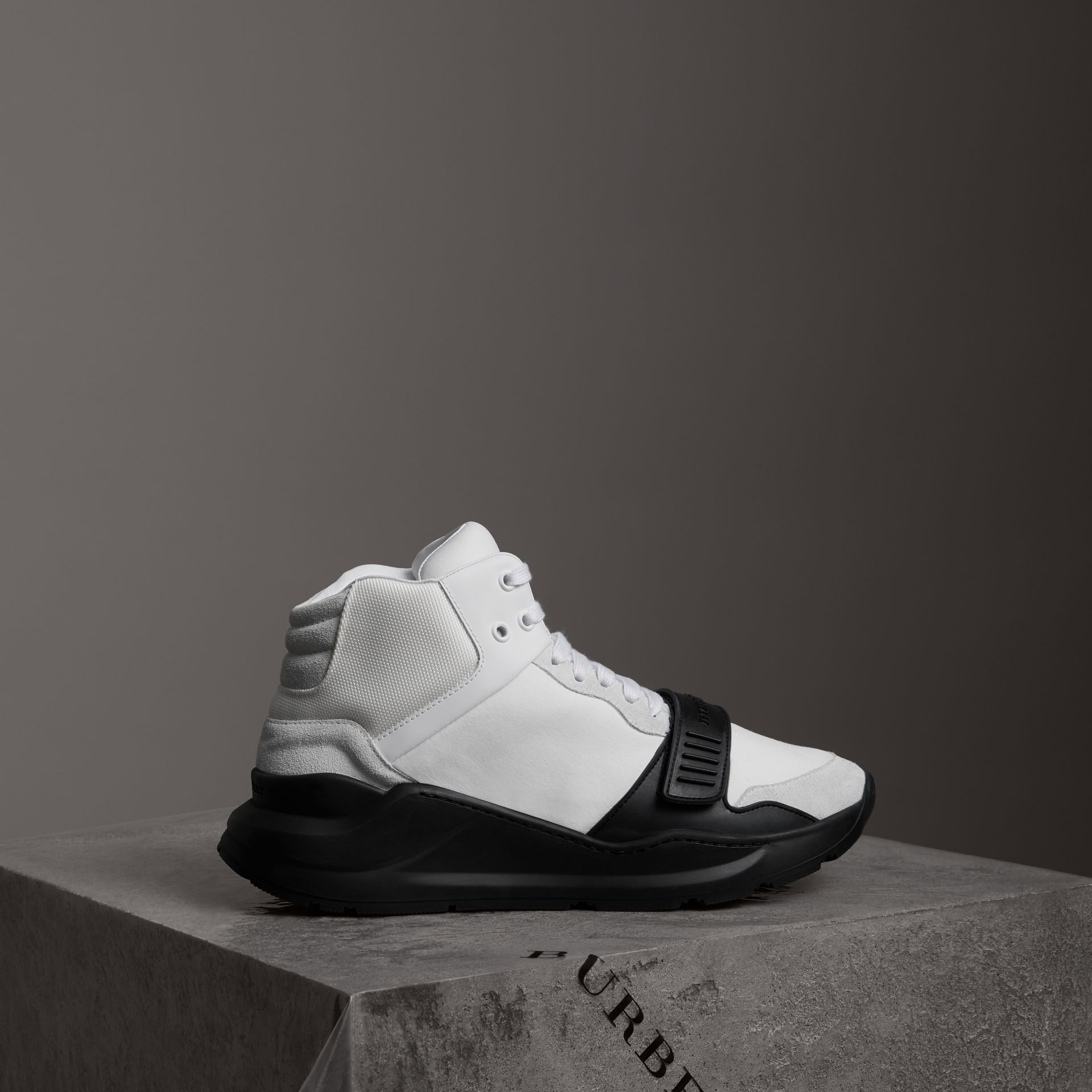 Suede Trim Neoprene High-top Sneakers in Optic White/black | Burberry - gallery image 0