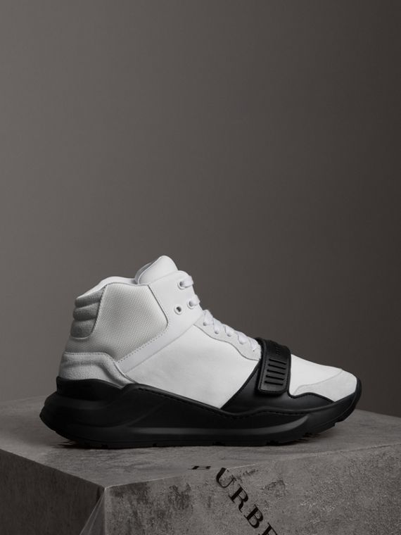 Suede and Neoprene High-top Sneakers in Optic White/black