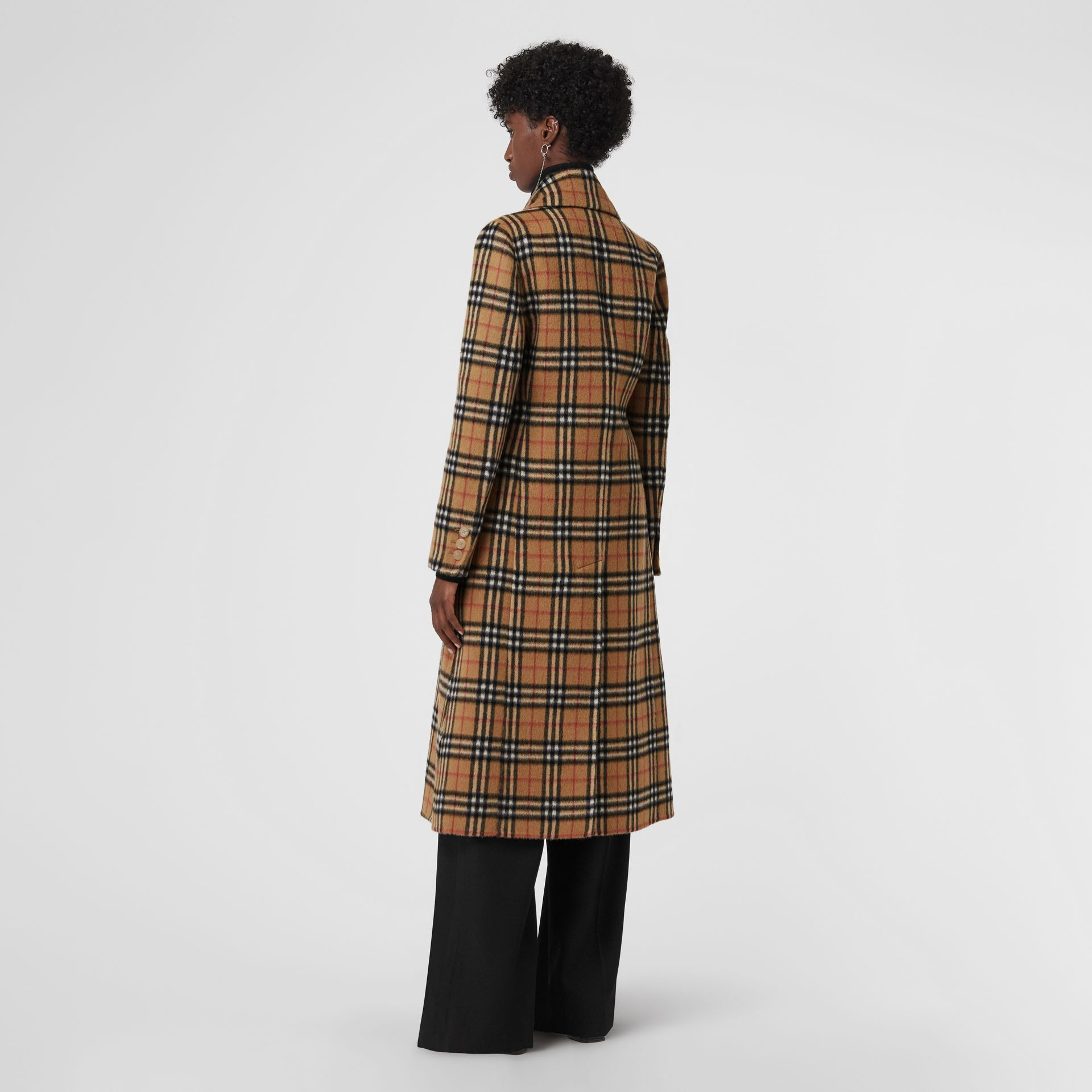 Vintage Check Alpaca Wool Tailored Coat in Antique Yellow - Women | Burberry Singapore - gallery image 2