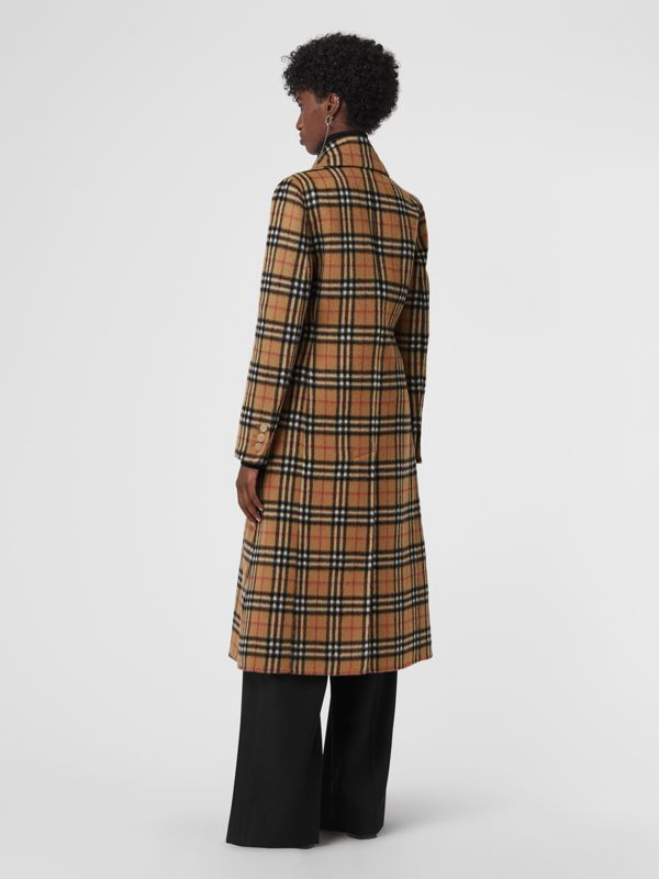 Vintage Check Alpaca Wool Tailored Coat in Antique Yellow - Women | Burberry - cell image 2
