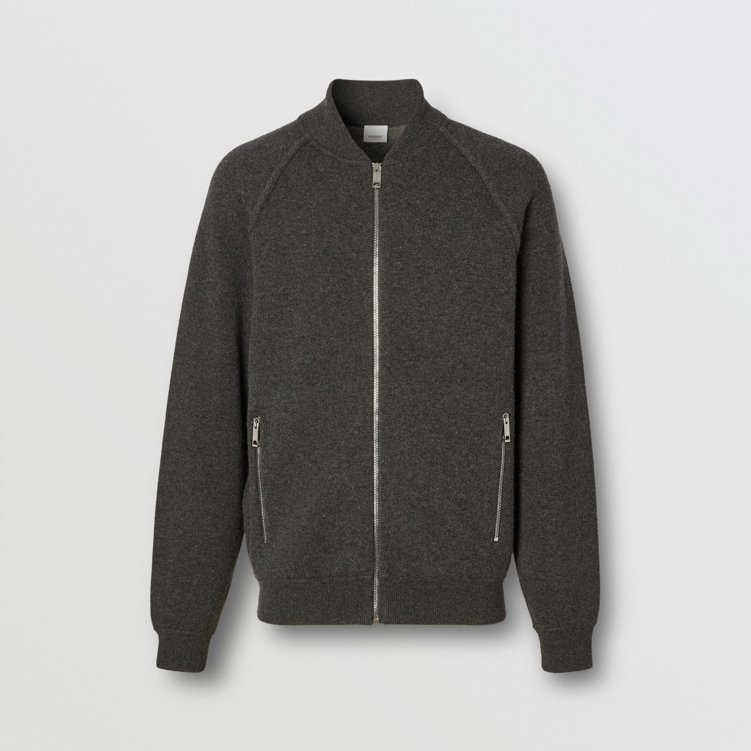 Double-faced Wool Cashmere Blend Bomber Jacket in Mid Grey Melange - Men | Burberry - 4