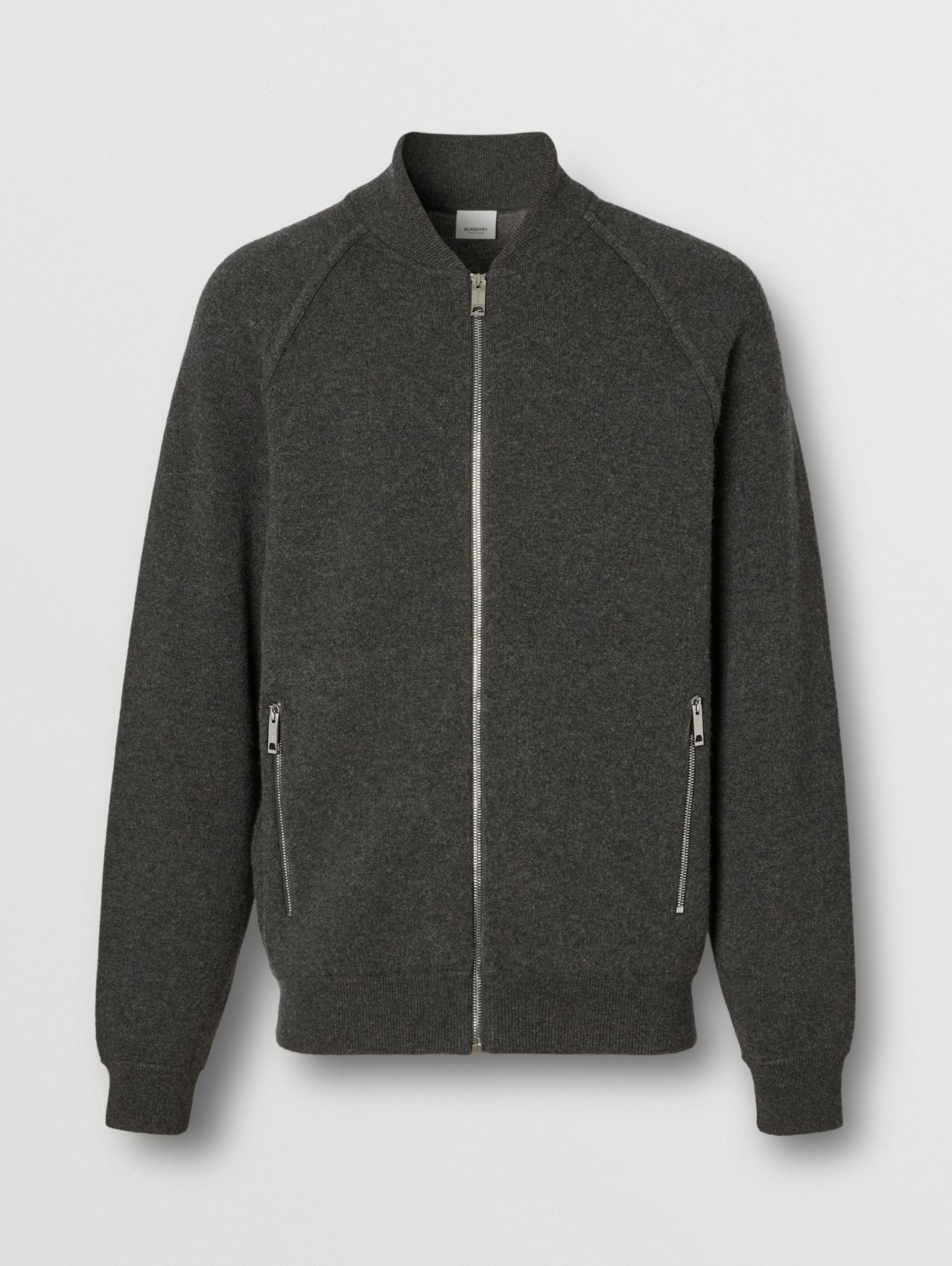 Double-faced Wool Cashmere Blend Bomber Jacket in Mid Grey Melange
