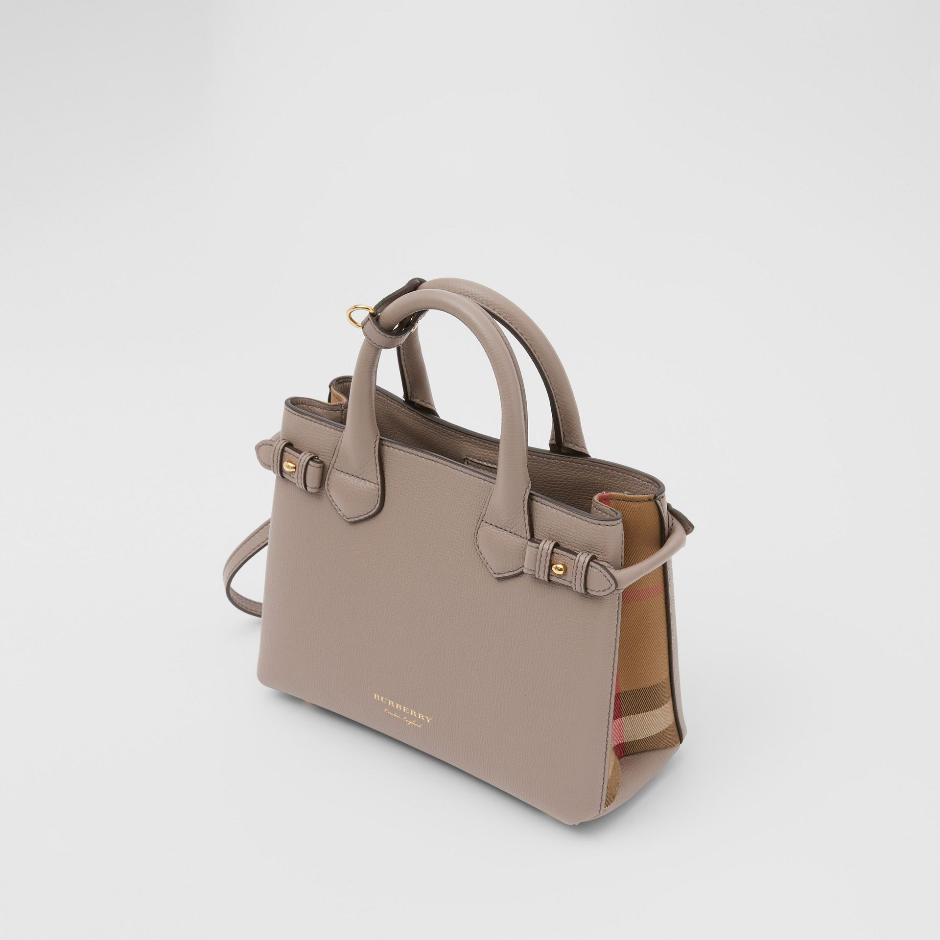 The Small Banner in Leather and House Check in Thistle Grey - Women   Burberry - gallery image 2