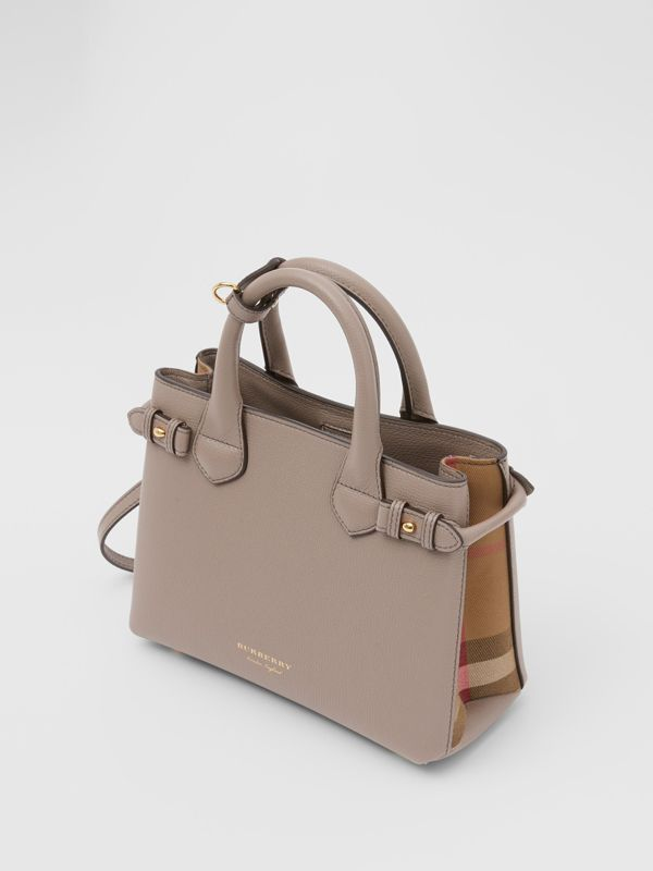 The Small Banner in Leather and House Check in Thistle Grey - Women   Burberry - cell image 2