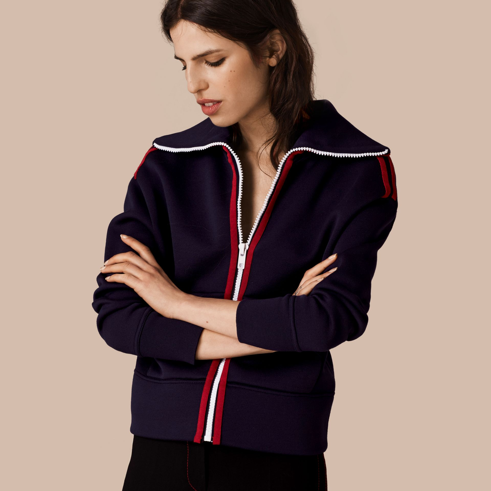 Navy/white Zip-Front Technical Silk Cardigan - gallery image 1