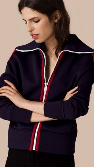 Zip-Front Technical Silk Cardigan