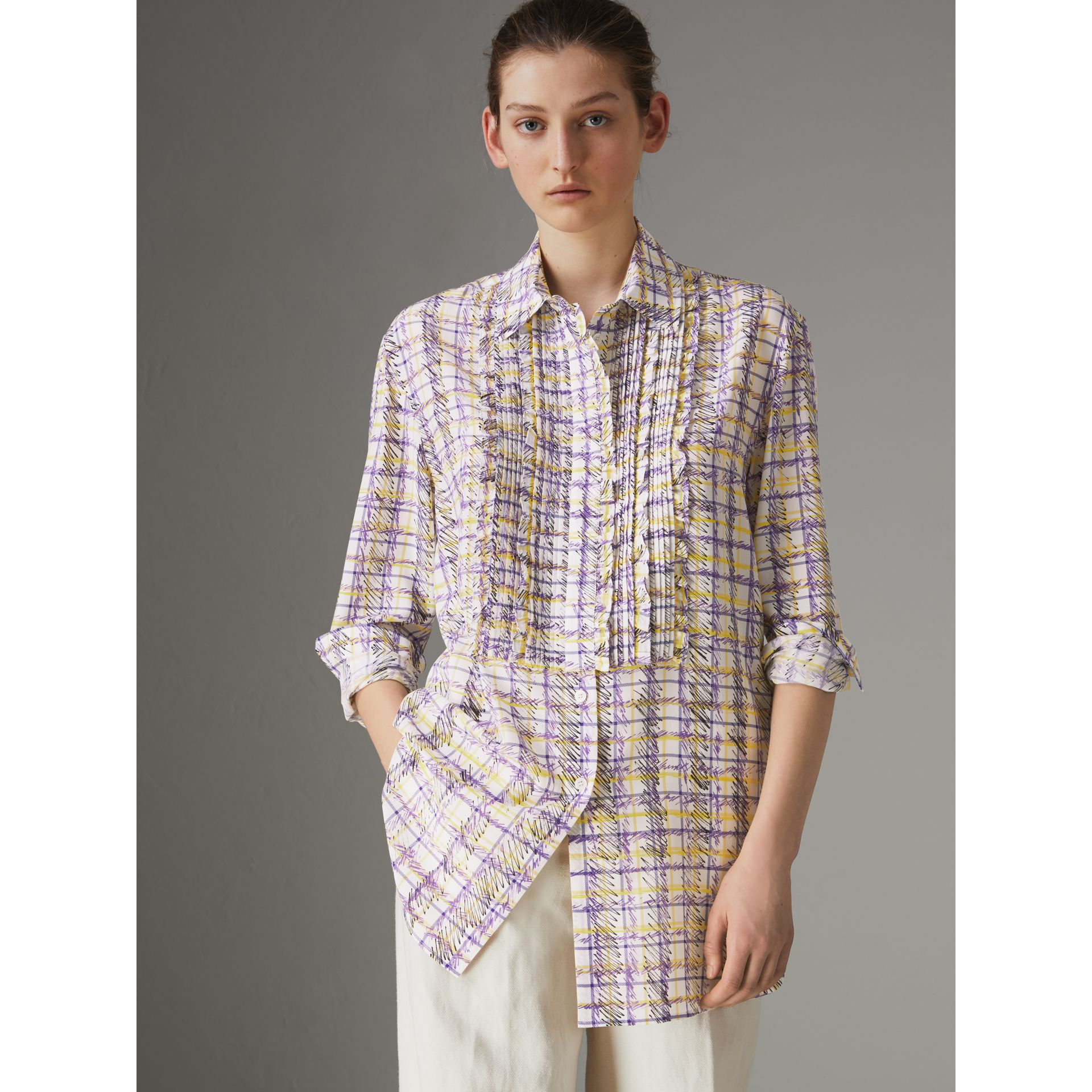 Scribble Check Print Silk Shirt in Heather - Women | Burberry - gallery image 0