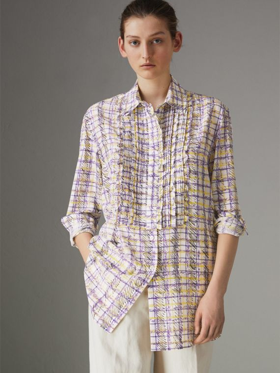 Scribble Check Print Silk Shirt in Heather
