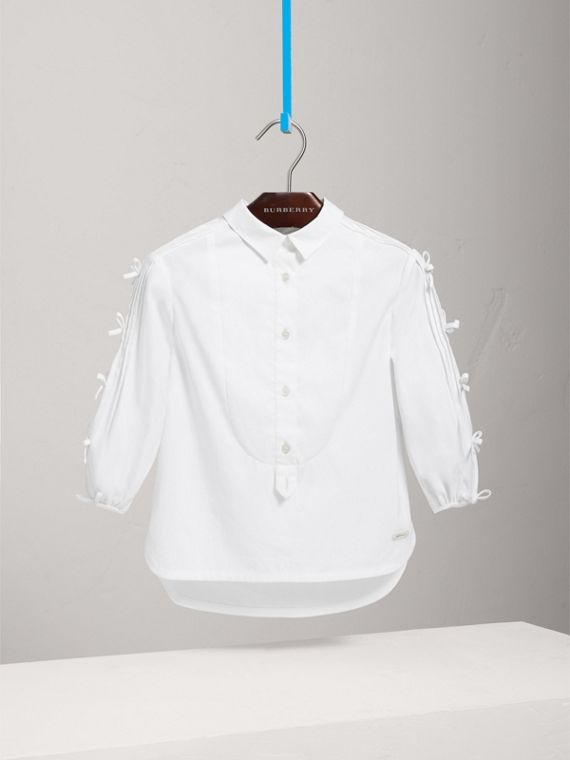 Sleeve Tie Detail Stretch Cotton Shirt in White - Girl | Burberry - cell image 2