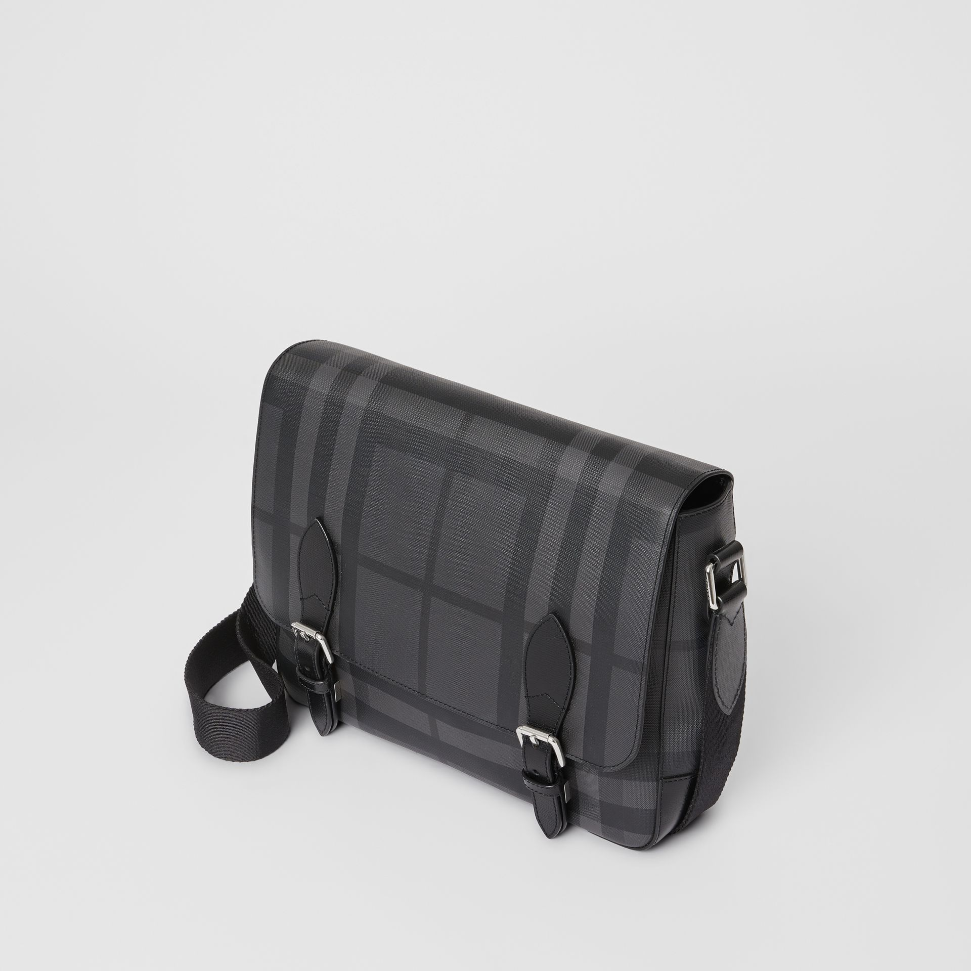 Medium Leather Trim London Check Messenger Bag in Charcoal/black - Men | Burberry Singapore - gallery image 0
