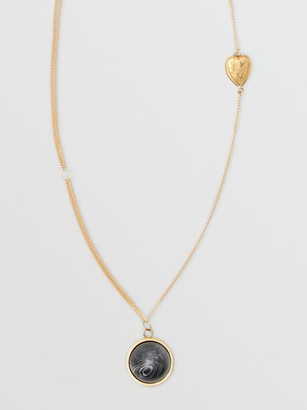 Heart and Marbled Resin Charm Chain Necklace in Light Gold - Women | Burberry - cell image 3