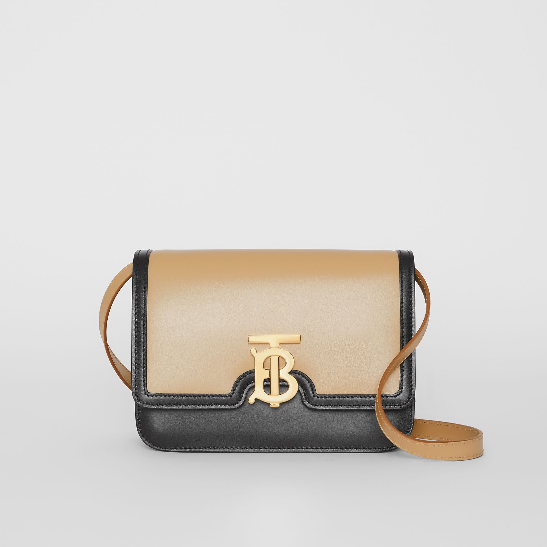 Small Two-tone Leather TB Bag in Honey/black - Women | Burberry - gallery image 0
