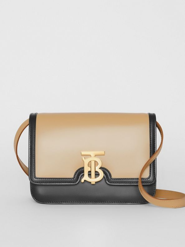 Small Two-tone Leather TB Bag in Honey/black