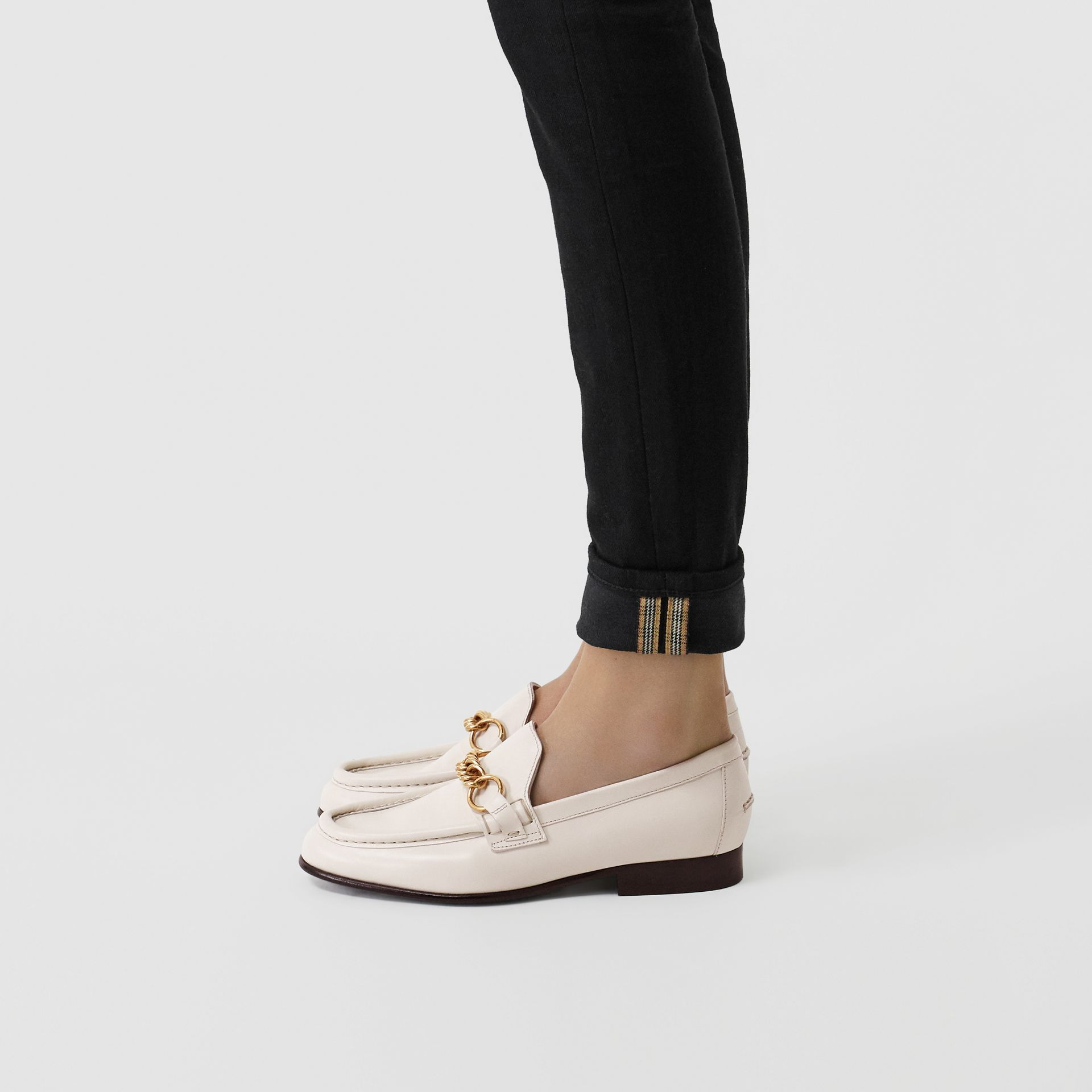 The Leather Link Loafer in Ash White - Women | Burberry - gallery image 2