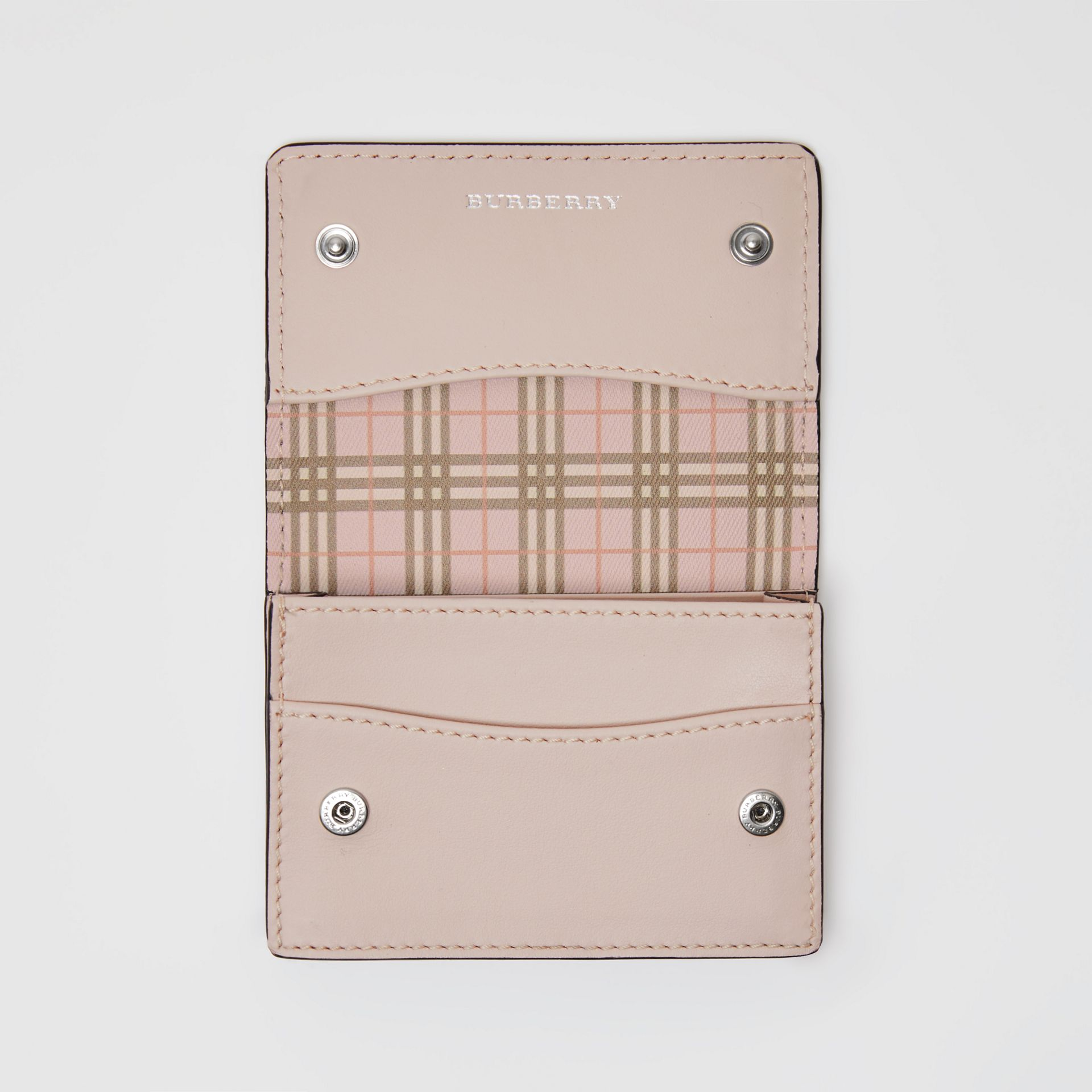 Small Scale Check and Leather Folding Card Case in Ice Pink - Women | Burberry United Kingdom - gallery image 3