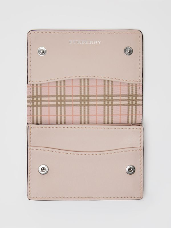 Small Scale Check and Leather Folding Card Case in Ice Pink - Women | Burberry - cell image 3