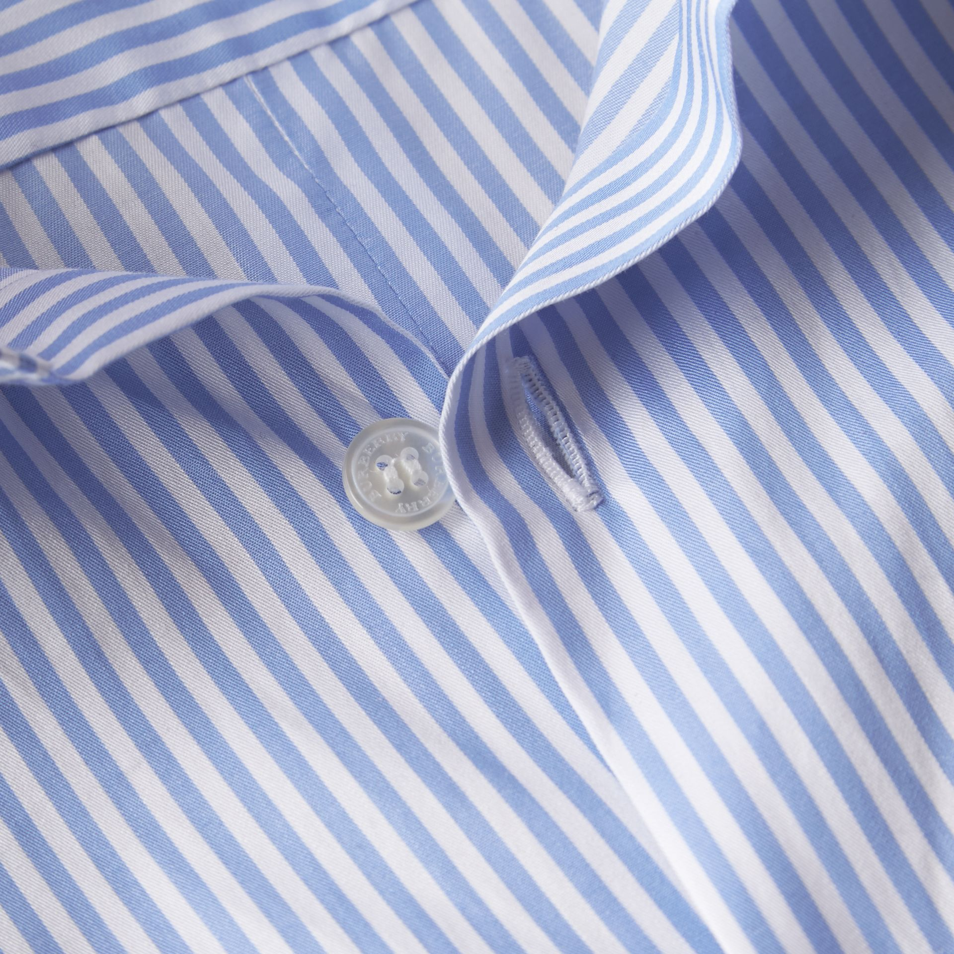 Hydrangea blue Striped Cotton Shirt - gallery image 2