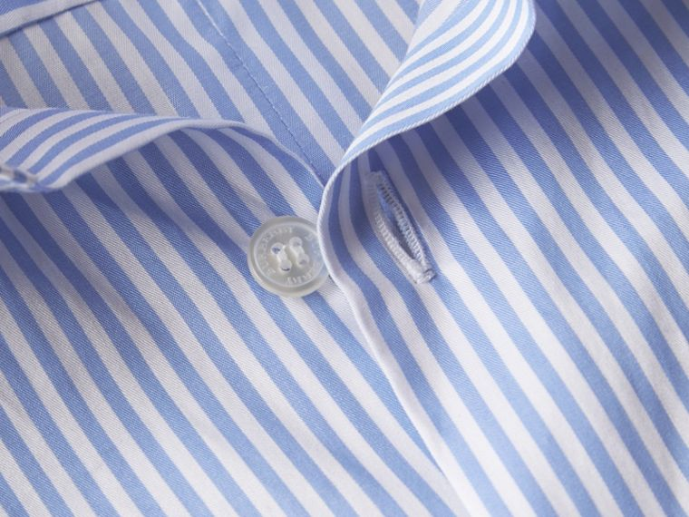 Hydrangea blue Striped Cotton Shirt - cell image 1