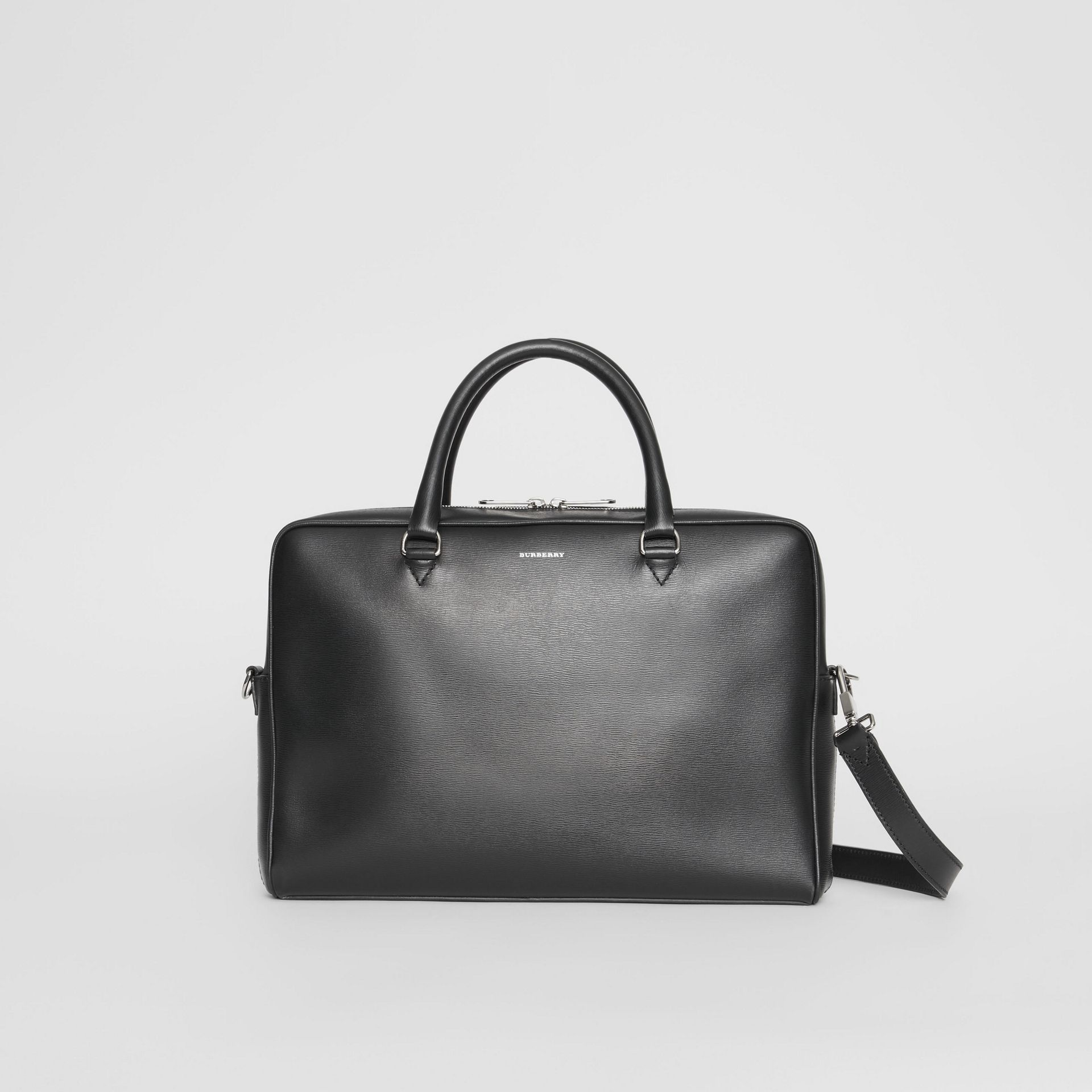London Leather Briefcase in Black - Men | Burberry - gallery image 0