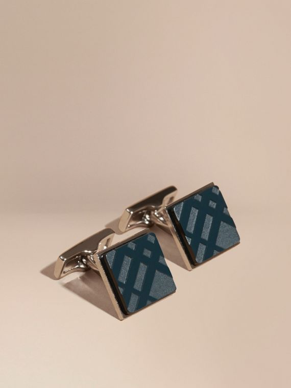 Check-engraved Square Cufflinks Lapis Blue