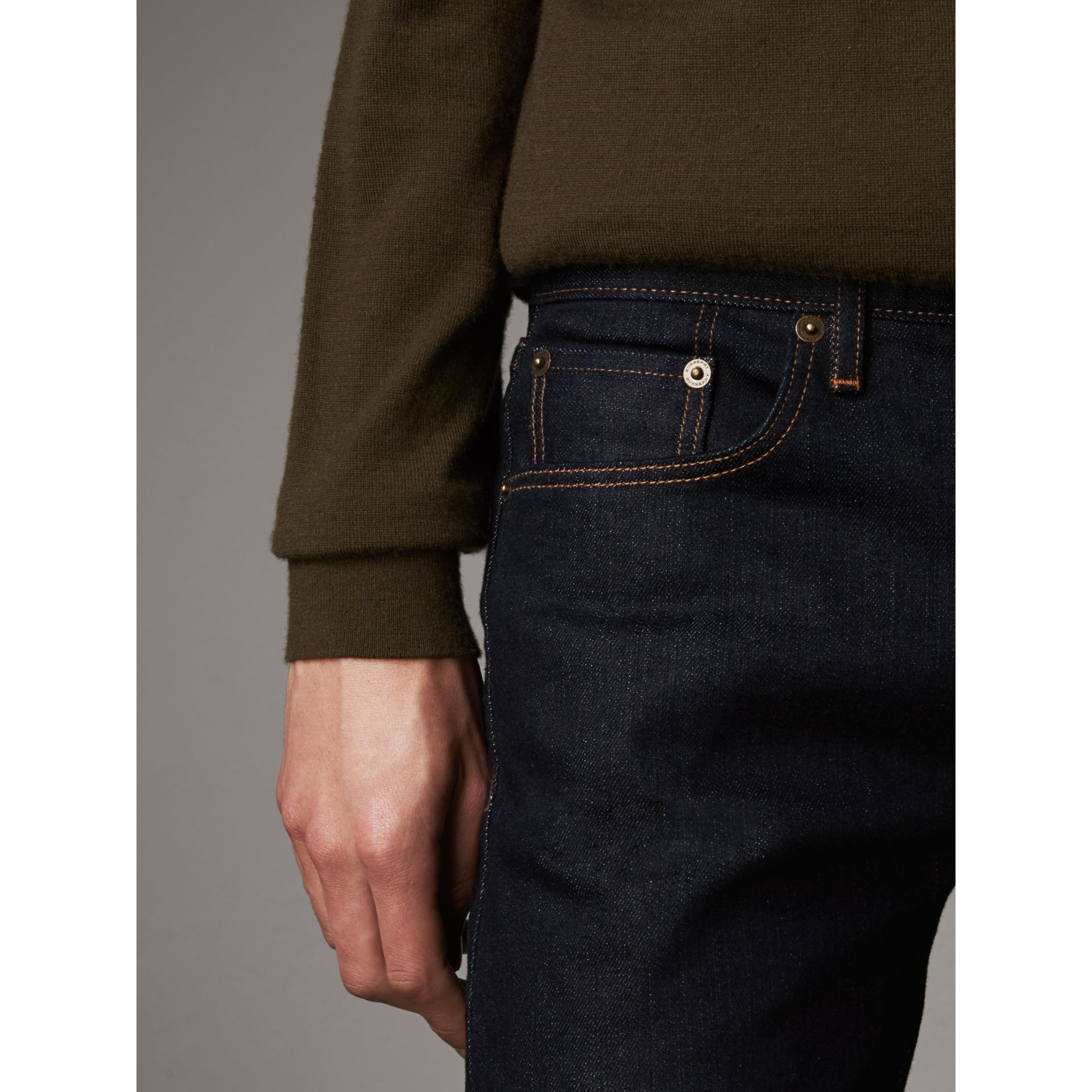 Slim Fit Stretch Japanese Selvedge Denim Jeans in Dark Indigo - Men | Burberry Canada - gallery image 5