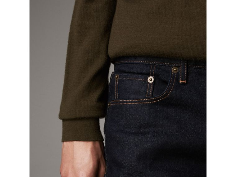 Slim Fit Stretch Japanese Selvedge Denim Jeans in Dark Indigo - Men | Burberry United States - cell image 4