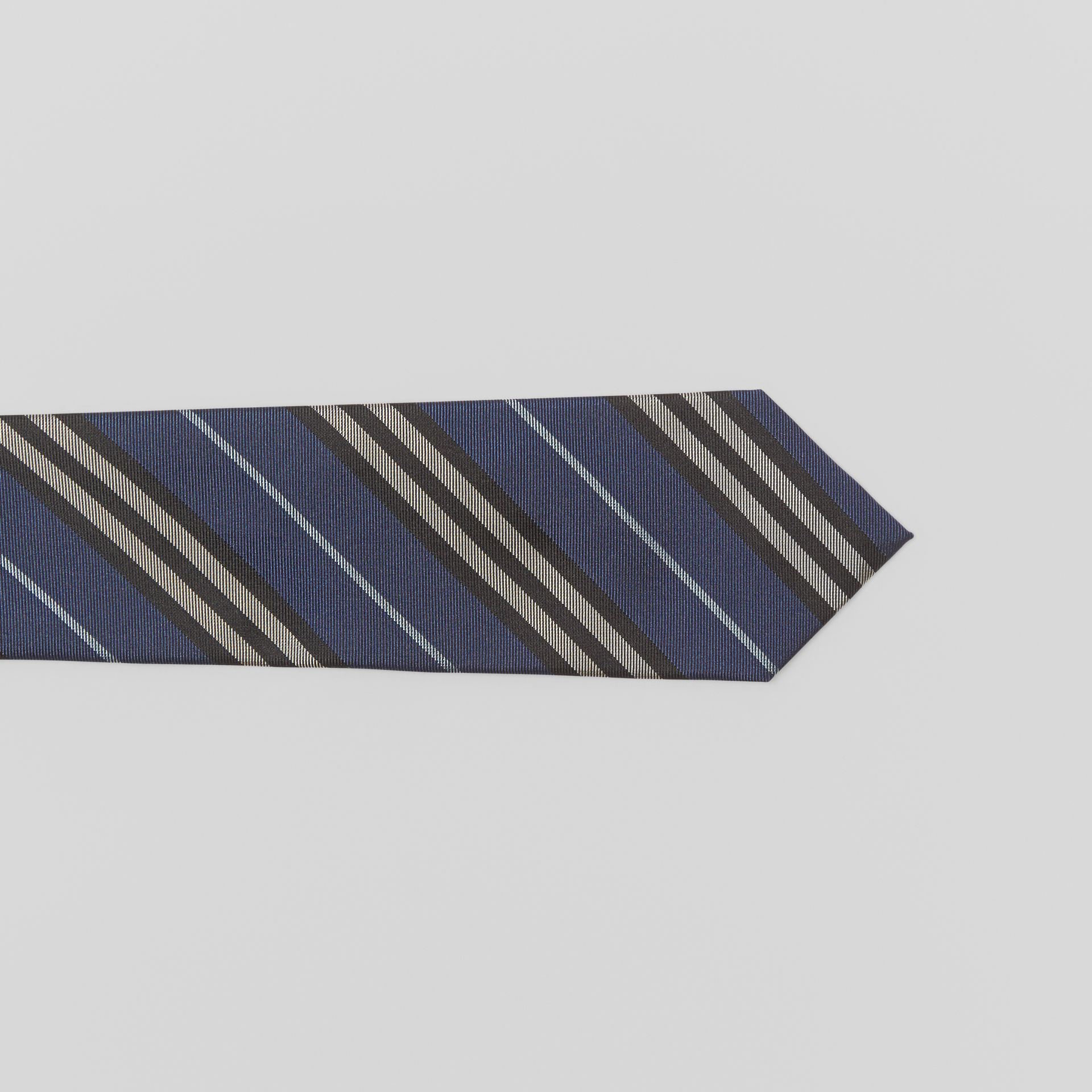 Modern Cut Striped Silk Jacquard Tie in Steel Blue - Men | Burberry Australia - gallery image 1