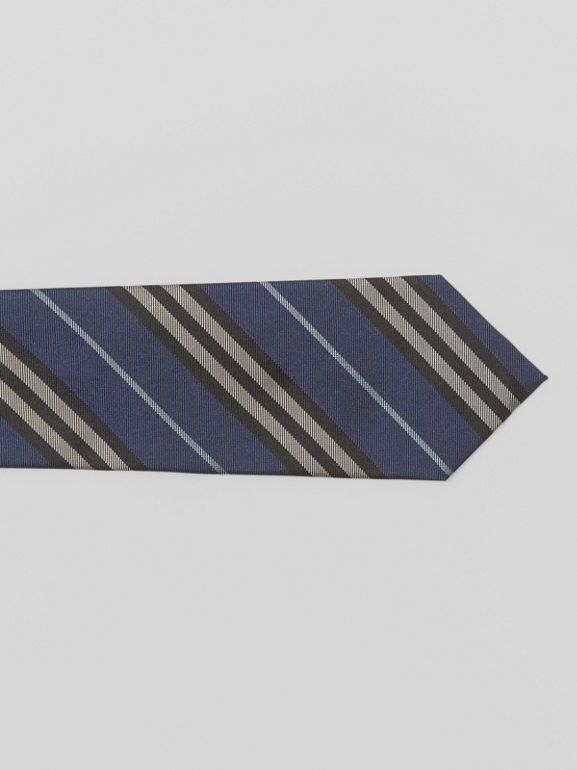 Modern Cut Striped Silk Jacquard Tie in Steel Blue - Men | Burberry - cell image 1