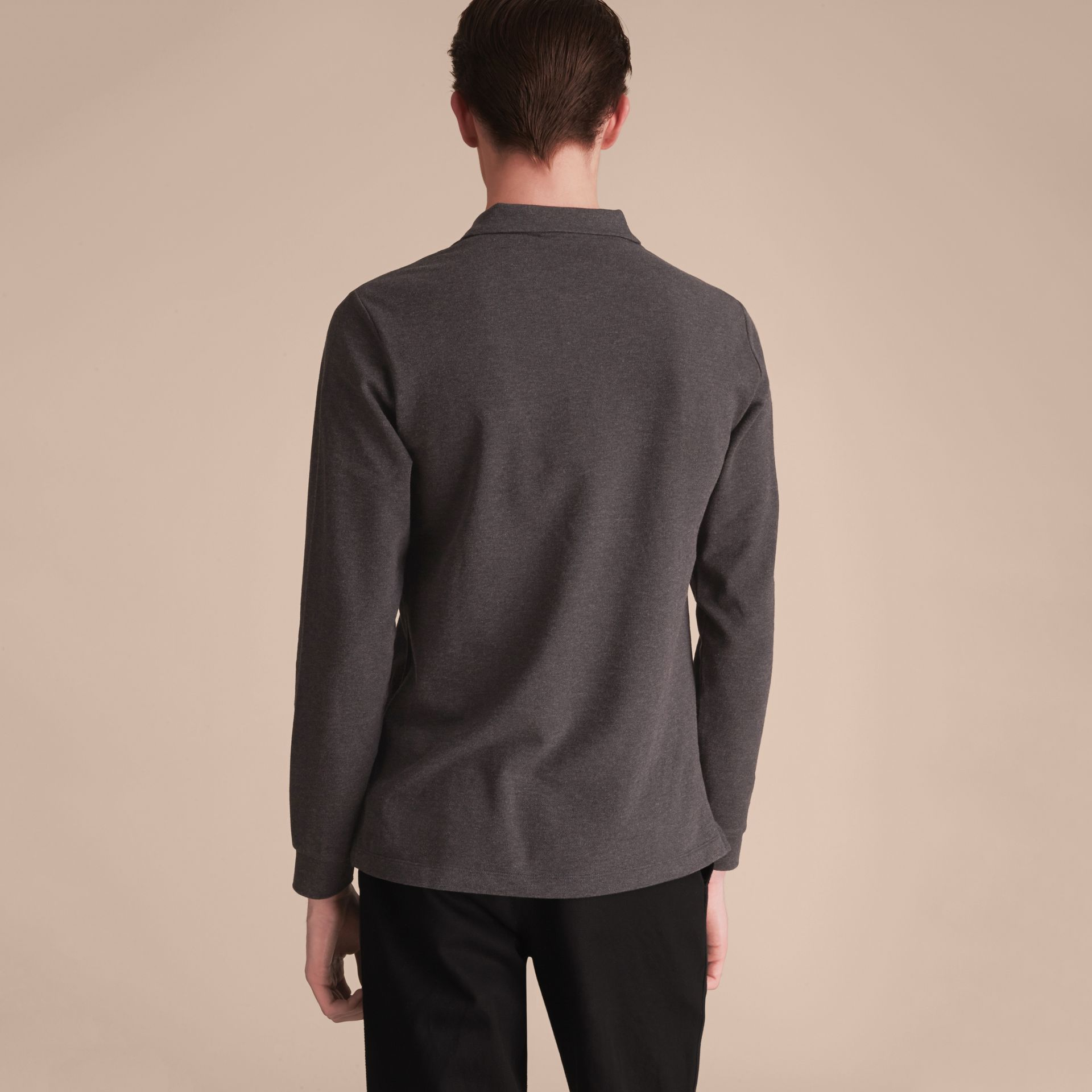Check Placket Long Sleeve Polo Shirt in Dark Charcoal Melange - Men | Burberry Hong Kong - gallery image 3