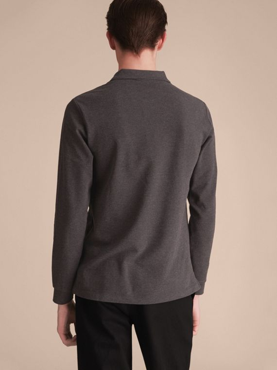 Check Placket Long Sleeve Polo Shirt in Dark Charcoal Melange - cell image 2