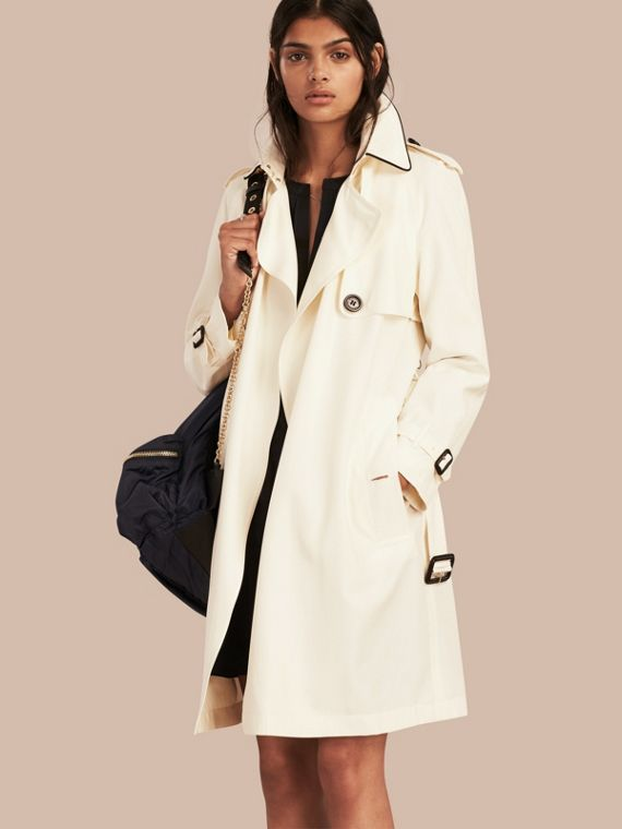 Oversize Detail Silk Trench Coat Parchment