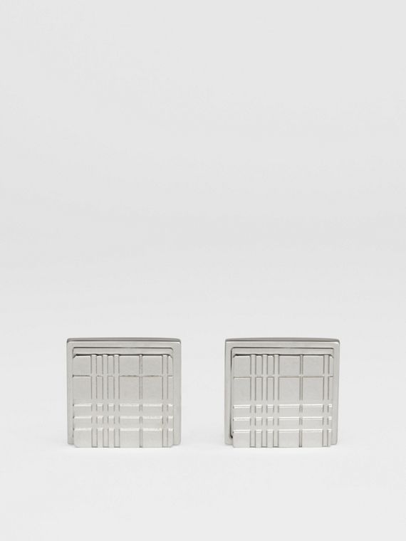 Check-engraved Square Cufflinks in Silver