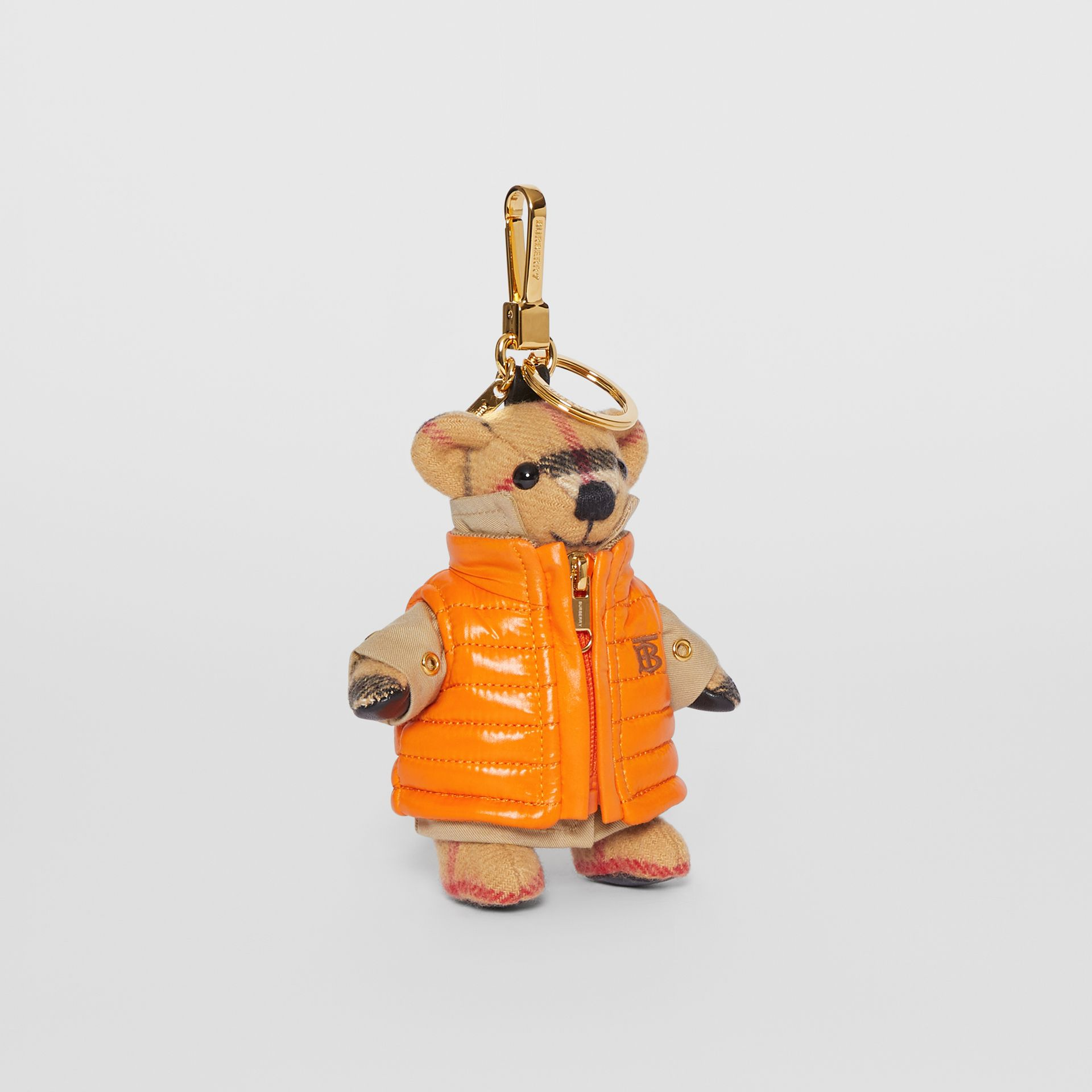 Thomas Bear Charm in Monogram Motif Gilet in Antique Yellow - Women | Burberry Australia - gallery image 0